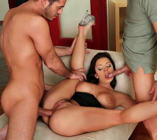 Multiple nude girls fucking a guy